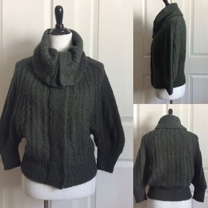 Free People Olive Chunky Knit Cowl Neck Cardigan
